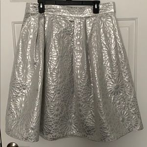 White and silver A-line skirt